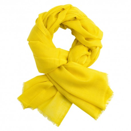 Yellow pashmina stole in diamond weave