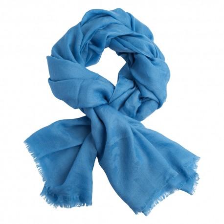 Sky blue jacquard pashmina shawl