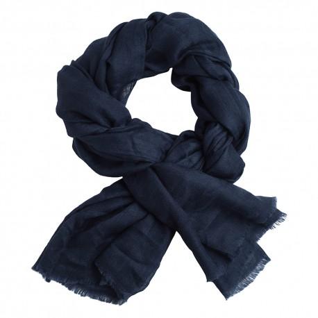 Navy blue jacquard pashmina shawl