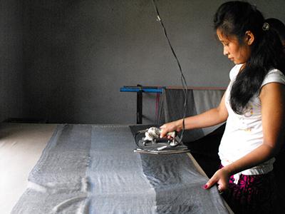 Ironing the shawls